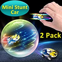GBD 2 Pack High Speed Mini Stunt RC Car Toys for Kids Boys Girls Light Up Hobby Toys 360° Rotating Hand Control Spinning Racing Car Vehicles Crawlers Chariot Holiday Birthday Gifts (02 Speed car)