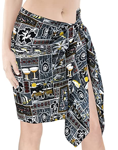 "b183693f4f3ce LA LEELA Likre Nightwear Pareo Lungi Women Sarong Printed 72""X21""  Black_379"