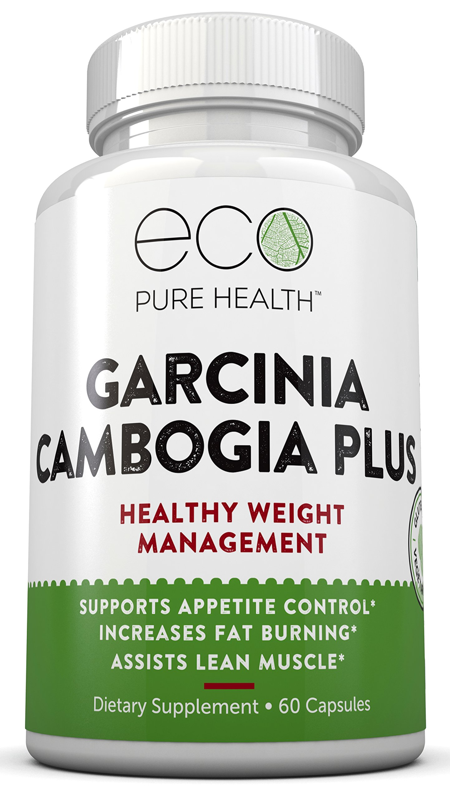 Garcinia Cambogia PLUS for Healthy Weight Management, Supports Appetite Control, Helps Increase Fat Burning, Assists Lean Muscles, 60 Capsules by Eco Pure Health