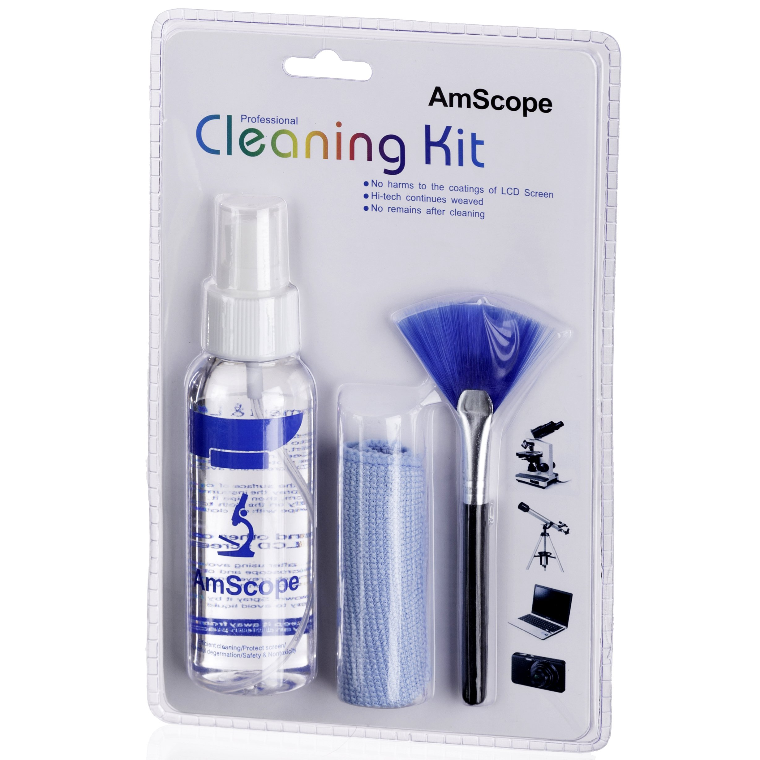 AmScope CK-I 3-in-1 LCD Professional Cleaning Kit for Microscope, Laptop, TV and Monitor by AmScope