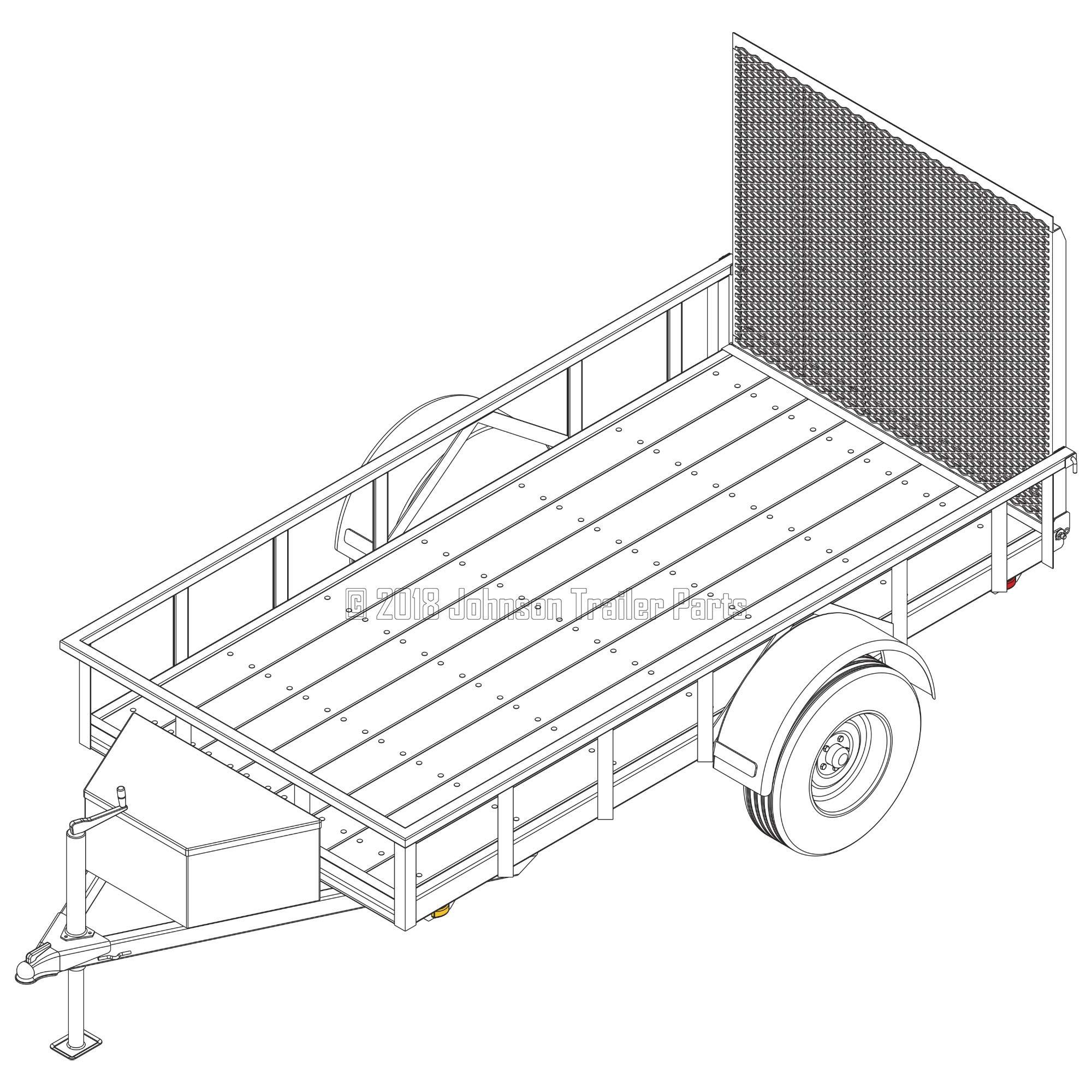 5′ x 10′ Utility Trailer Plans - 3,500 lb Capacity | Trailer Blueprints Model U60-120-35J by Johnson Trailer Parts