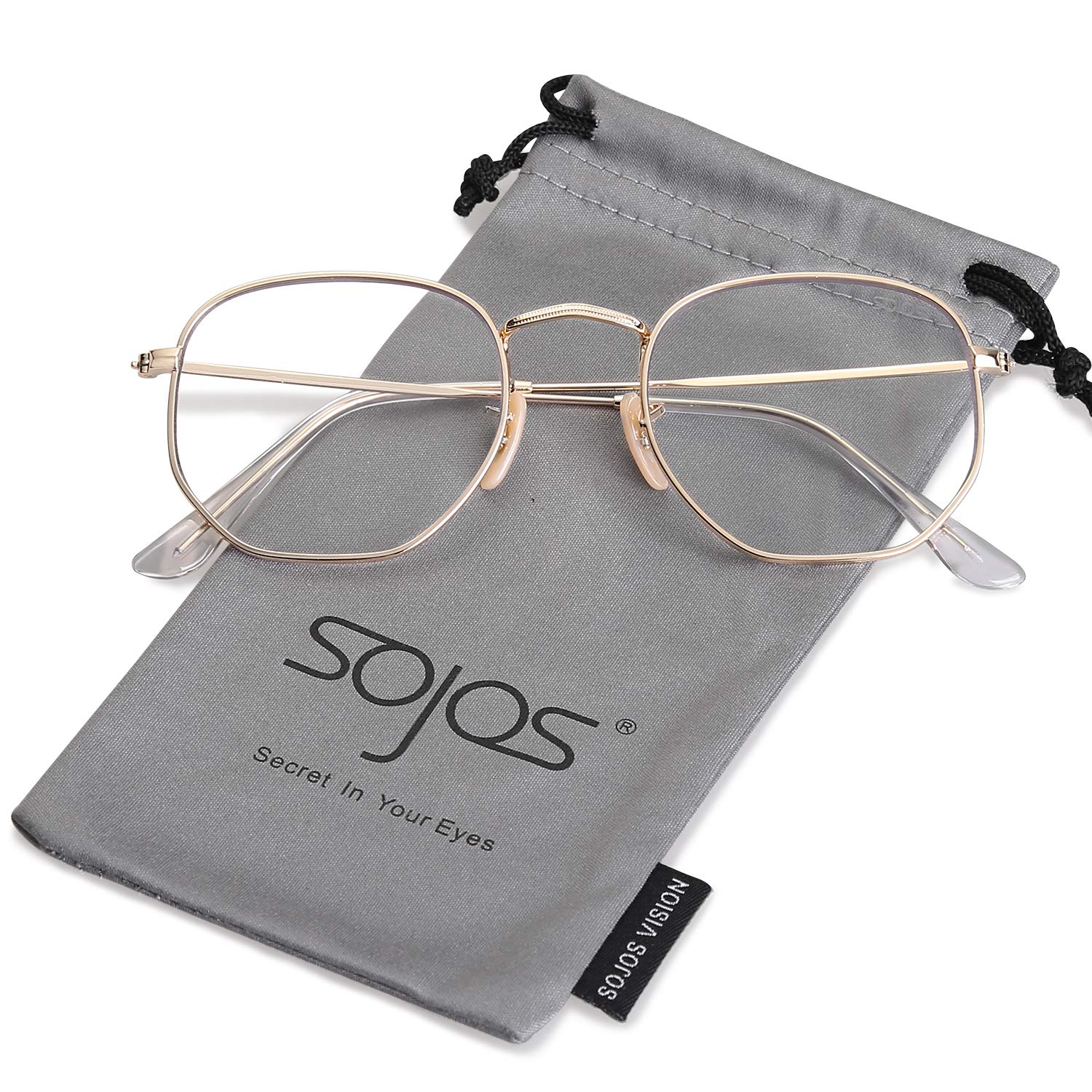 SOJOS Small Square Clear Lens Glasses for Men and Women Eyewear Eyeglasses SJ1072 with Gold Frame/Clear Lens