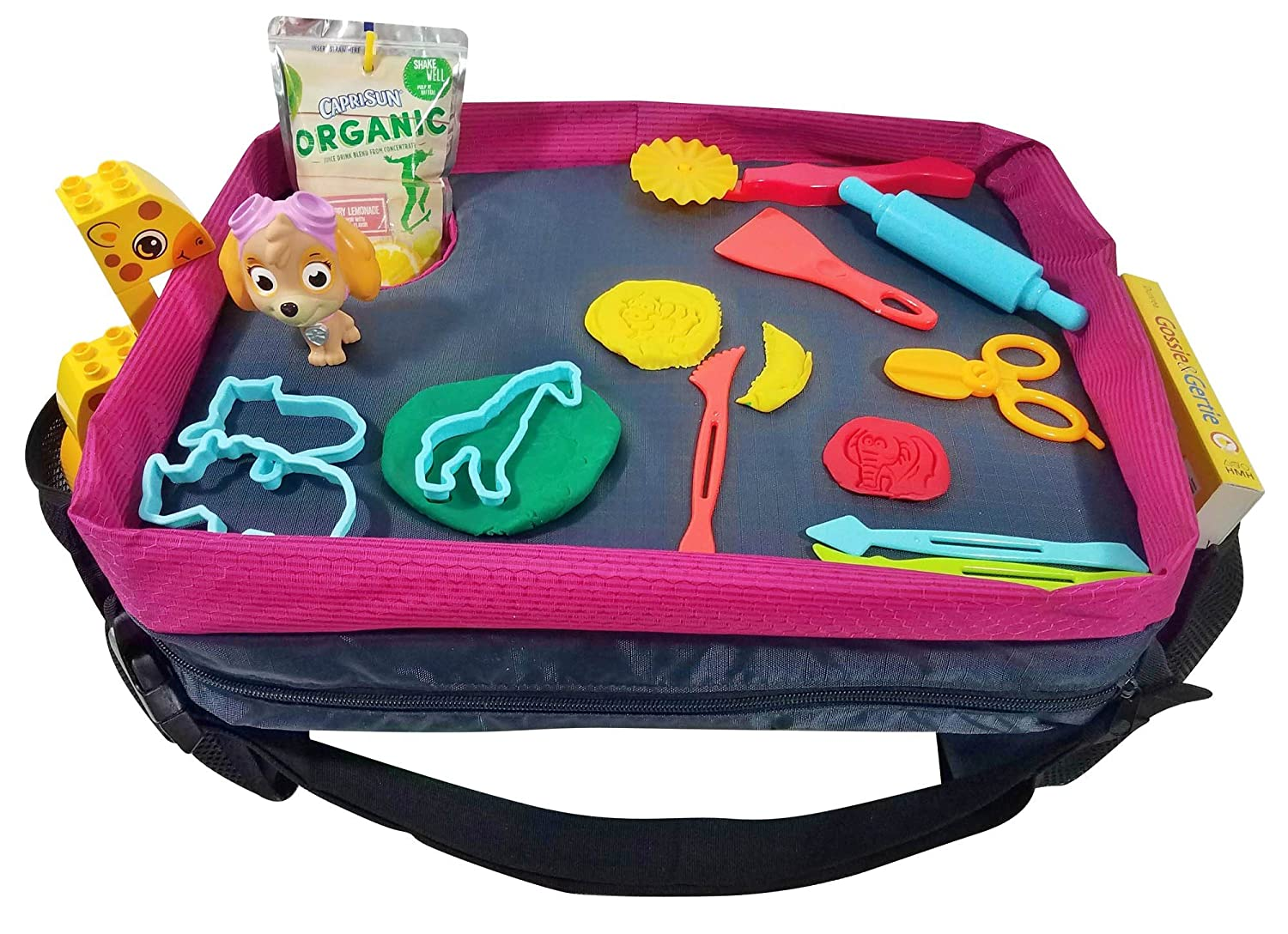 Reinforced Entertainment Surface /& Best Cup Holder Car Seat Tray /& Lap Desk for Kids /& Toddlers in Teal and Fuchsia by Dynamic Kidz Snack and Play Travel Tray