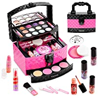 Vextronic Girl Makeup Toy Set 29 Pcs Washable Kids Makeup Kit for Girls, Pretend Play Makeup Kit for Kids, Non-Toxic, Real Cosmetic Toy Beauty Set for Kids Birthday Gift
