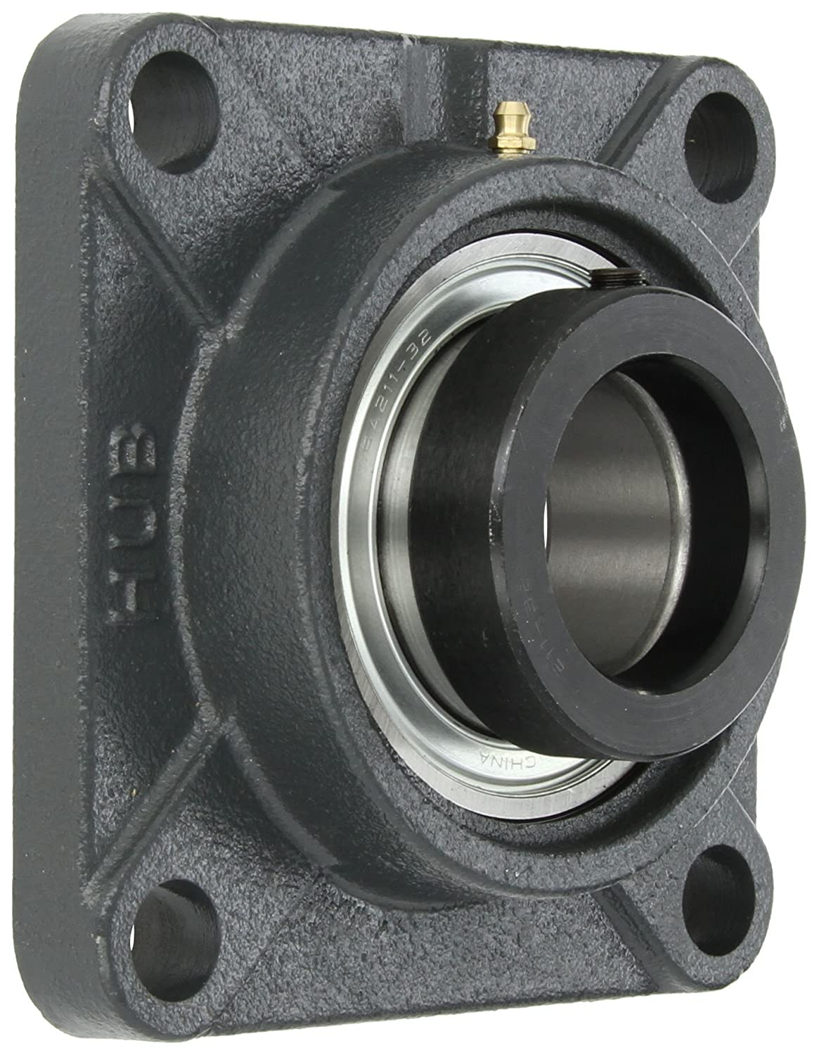 Hub City FB220URX2 Flange Block Mounted Bearing, 4 Bolt, Normal Duty, Relube, Eccentric Locking Collar, Narrow Inner Race, Cast Iron Housing, 2' Bore, 2.476' Length Through Bore, 5.118' Mounting Hole Spacing 2 Bore 2.476 Length Through Bore