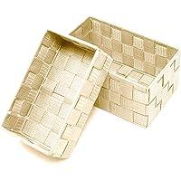 Lashuma Beżowe koszyki łazienkowe, zestaw 2 koszyków, rozmiary: 19 x 10 x 7 cm i 20 x 13 x 10 cm, koszyki regałowe do…