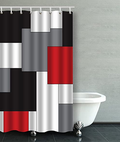Accrocn Waterproof Shower Curtain Curtains Fabric Wavy Vertical Stripes Red  Black White And Grey 36x72 Inches