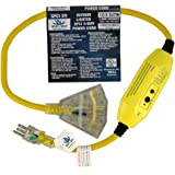 3ft 12 Gauge GFCI Heavy Duty Indoor/Outdoor SJTW Lighted Triple Outlet Extension Cord by Watt's Wire - 3' 12/3 Ground Fault Circuit Interrupter Pigtail Power Cord - 12AWG 125Vac 15Amp 1875Watt