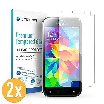 smartect 2X Protector de Pantalla de Cristal Templado para Samsung Galaxy S5 Mini Lámina Protectora Ultrafina de 0,3mm | Vidrio Robusto con Dureza 9H y ...
