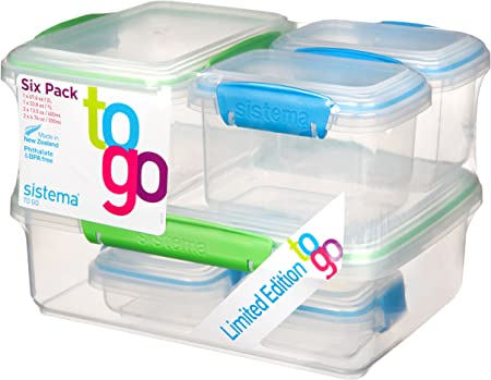 Sistema – Fiambreras to go, Multicolor, 6 Unidades: Amazon.es: Hogar