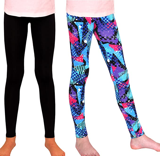 3407d925a1067 Syleia Girl Leggings High Rise 2 Pairs Patterns and Solid Colors Great  Stretch (Red&Blue Triangles