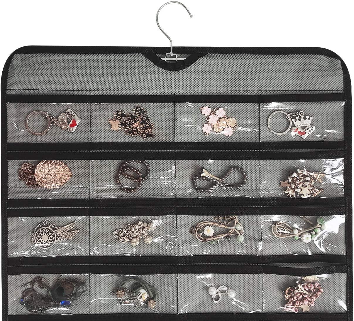 Gray BB Brotrade Hanging Jewelry Organizer,80 Pocket Double Sided Organizer,Necklace,Earring,Ring Holder for Jewelries