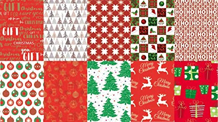 Christmas Sheets.10 Assorted Sheets Thick Christmas Gift Wrapping Paper Modern Xmas Designs