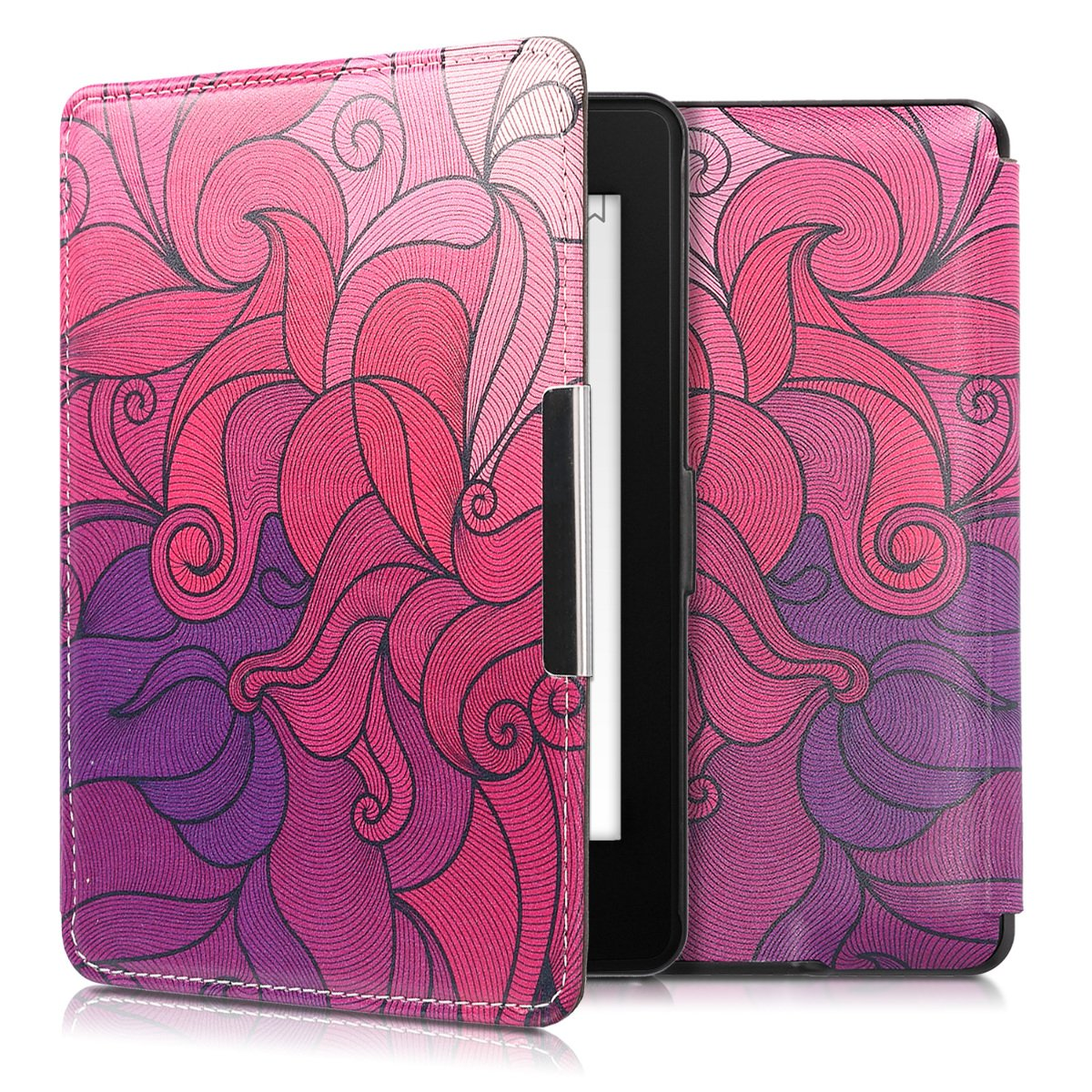 kwmobile Case for Amazon Kindle Paperwhite - Book Style PU Leather Protective e-Reader Cover Folio Case - dark pink violet light pink