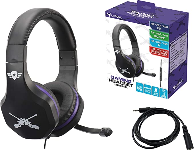 Subsonic - Auriculares con micrófono (PS4 Slim / Pro - Xbox One / PC / Nintendo Switch), Edición Gamer Battle Royal con extensión Switch: Amazon.es: Videojuegos