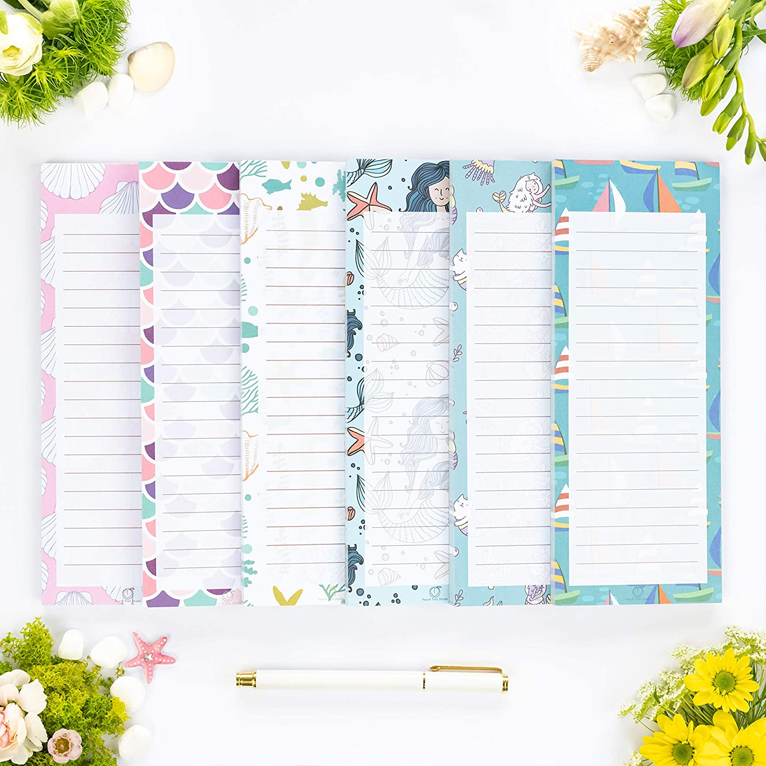"""Peach Tree Shade Magnetic Notepads, 6-Pack 60 Sheets Per Pad 3.5"""" x 9"""", for Fridge, Kitchen, Shopping, Grocery, To-Do List, Memo, Reminder, Note, Book, Stationery, (Mermaidnotes)"""