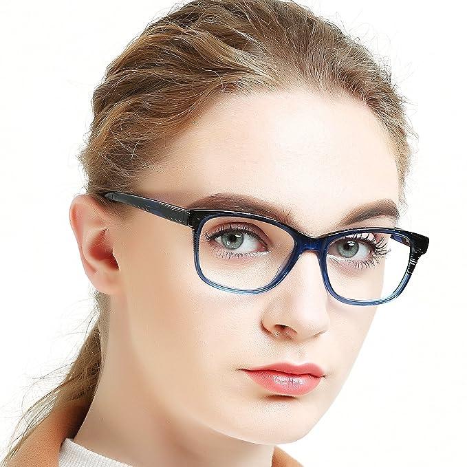 e015bcb917 OCCI CHIARI Eyeglasses Frames Non-Prescription Fashion Clear Lens Eye  Glasses Designer for Womens(Black Stripe Blue