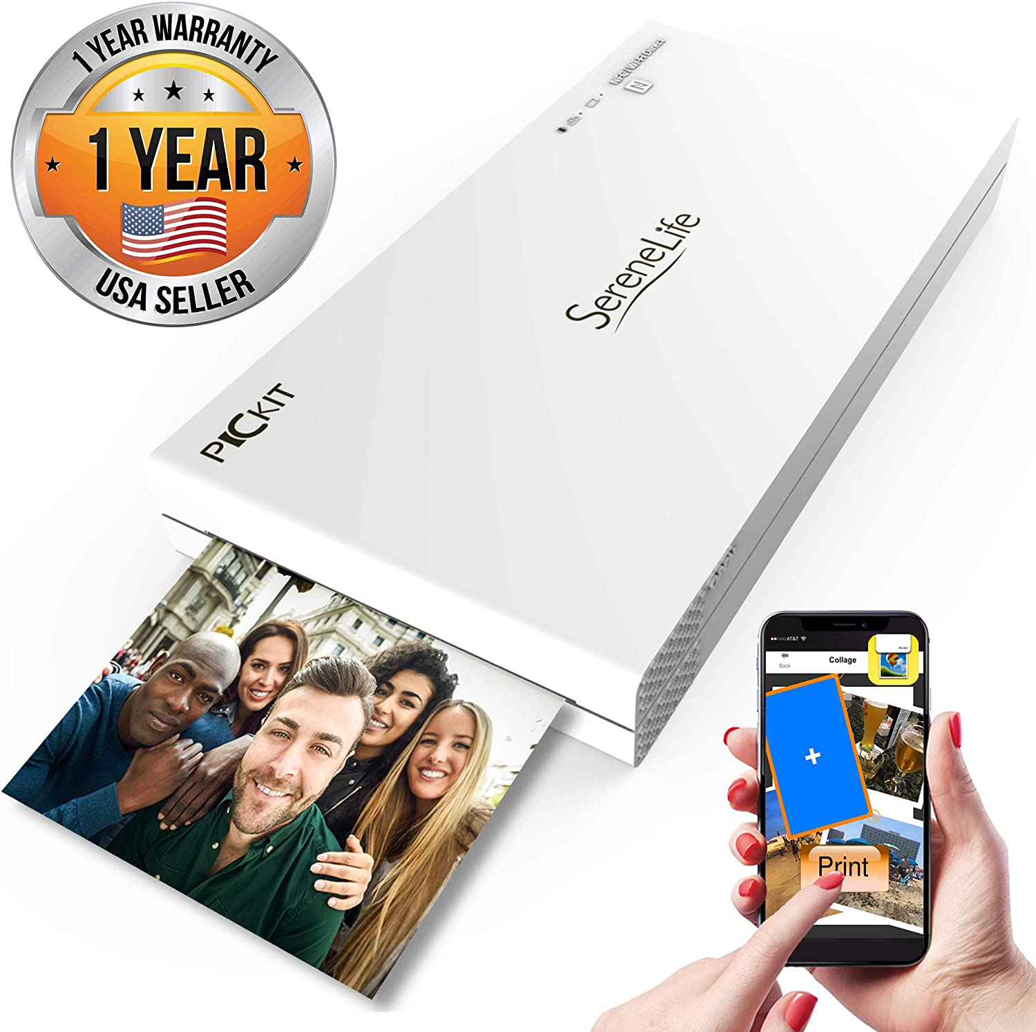 Portable Instant Mobile Photo Printer - Wireless Color Picture Printing from Apple iPhone, iPad or Android Smartphone Camera - Mini Compact Pocket Size Easy for Travel - SereneLife PICKIT20 White