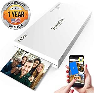 Portable Instant Mobile Photo Printer - Mini Compact Pocket Size Easy for Travel - Wireless Color Picture Printing from Apple iPhone, iPad or Android Smartphone Camera - SereneLife