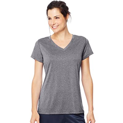 Hanes Sport Women's Heathered Performance V-Neck Tee at Women's Clothing store