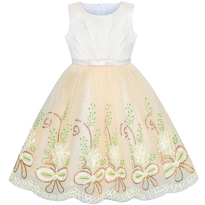 70eae1a8b47a Amazon.com  Sunny Fashion Flower Girl Dress Champagne Floral Wedding ...