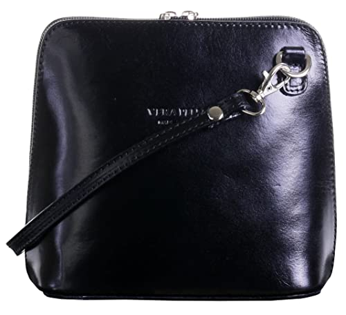 fa203488bcf5a Genuine Italian Leather, Black Small/Micro Cross Body Bag or Shoulder Bag  Handbag.