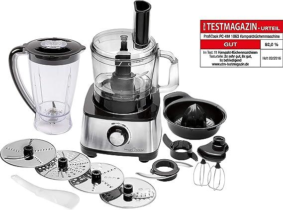ProfiCook PC-KM 1063 Procesador de alimentos, 11 accesorios, 1200 W, 1.2 litros, Acero inoxidable, Plástico, Negro y ...