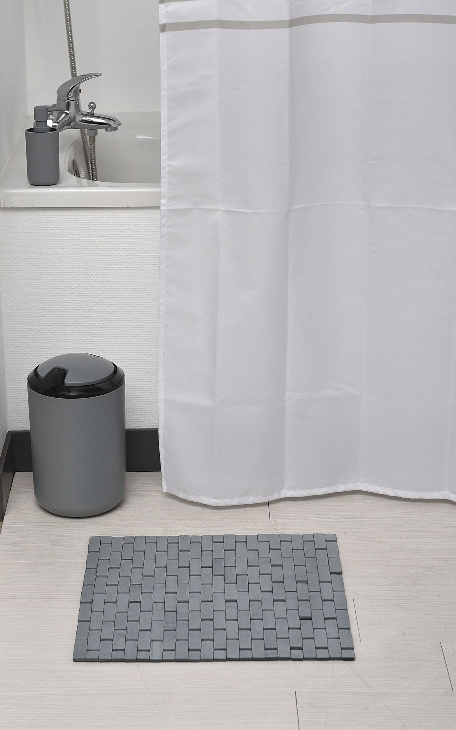EVIDECO Bathroom Bamboo Slats Roll-up Foldable Shower Door Rug, 18'' L X 18'' W x 0.4'' H(45 x 45 Cm), Gray by EVIDECO (Image #2)