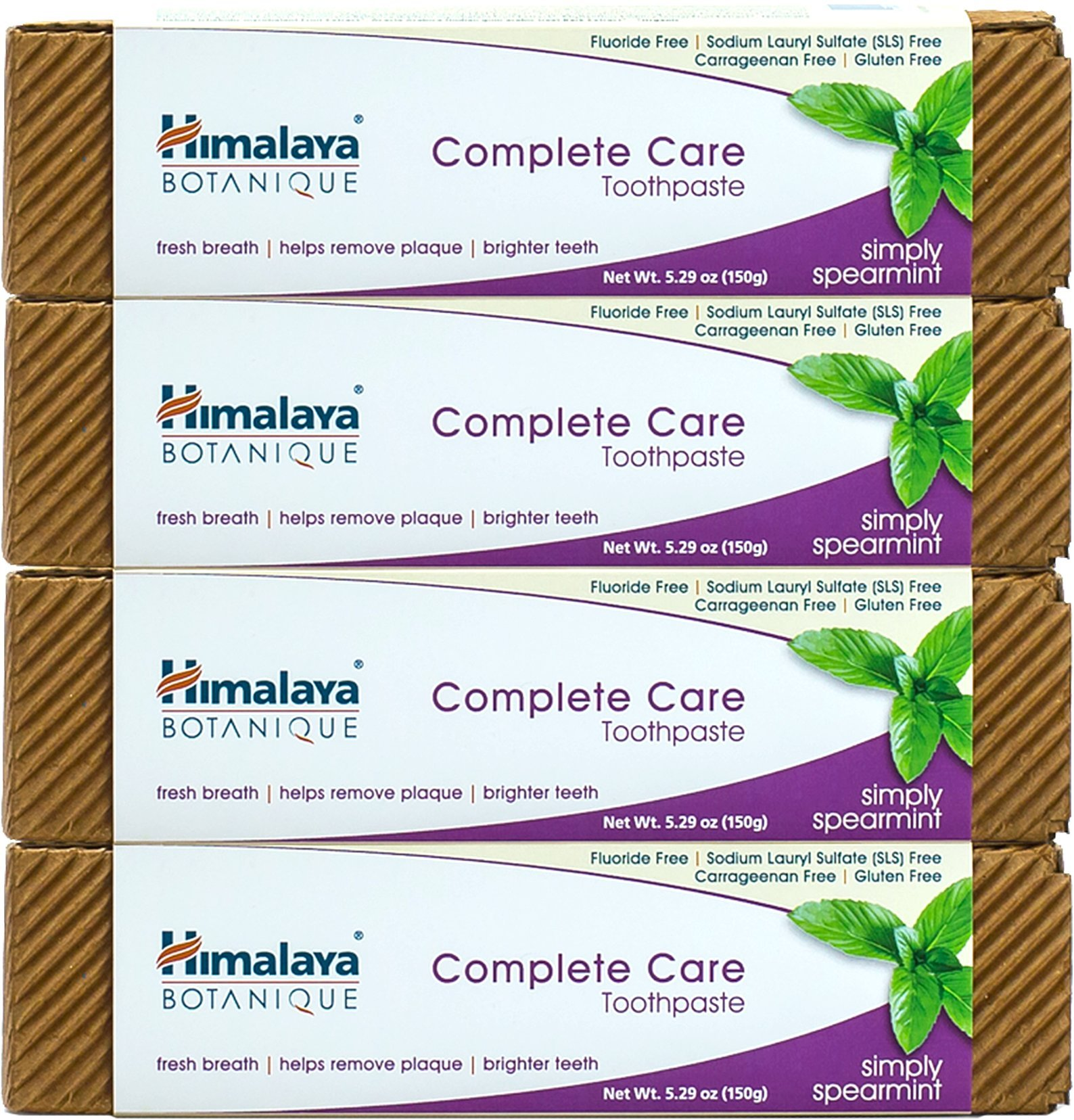 Himalaya Complete Care Toothpaste - Simply Spearmint 5.29 Oz/150 gm (4 Pack) Natural, Fluoride-Free & SLS Free
