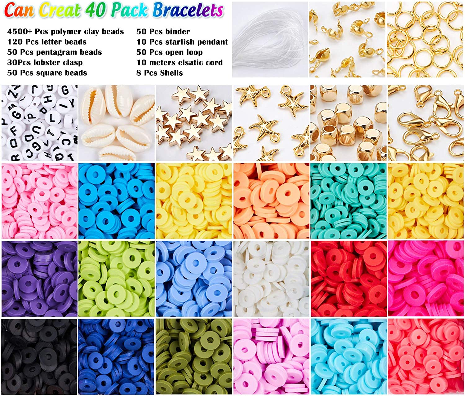 8 Colors, 6mm Beads EuTengHao 5755Pcs Flat Round Polymer Clay Spacer Beads,Ceramic Beads,African Disc Beads for Jewelry Making Bracelets Necklace Earring DIY Craft Kit with Pendant and Jump Rings
