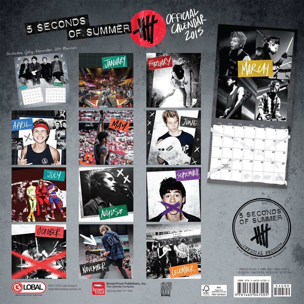 5sos poster design - 5 Seconds Of Summer 2015 Square 12x12 Browntrout Publishers 9781465047205 Amazon Com Books