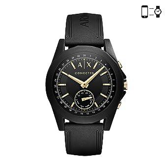 2569b0a0 Armani Exchange Men's Hybrid Smartwatch, Black-Tone Stainless Steel, 44 mm