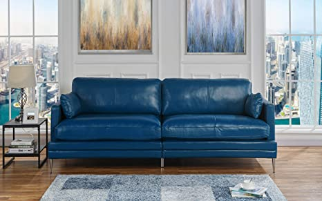 Blue Leather Upholstered Sofa Couch | Modern Blue Wide Top Grain Leather  Couch Sofa w/ 2 Accent Pillows, Lounger Home Furniture Small/Large Sofas &  ...