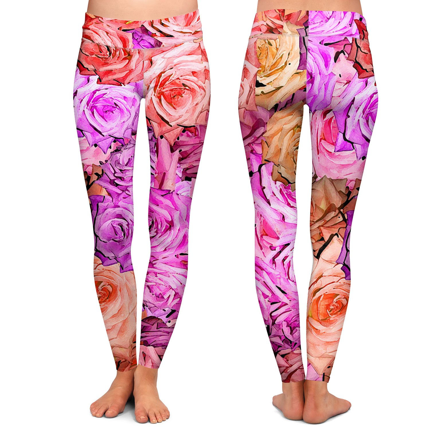 Athletic Yoga Leggings from DiaNoche Designs by Susie Kunzelman Roses Pinks Salmon