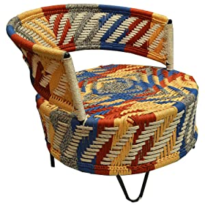 JAIPURWOOD BLOSSAM WROGHT Iron Multipurpose Hand WEAVEN Garden Chair Multicolour