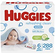 HUGGIES Refreshing Clean Baby Wipes, Disposable Soft Pack (6-Pack, 288 Sheets Total), Scented, Alcohol-Free, Hypoallergenic