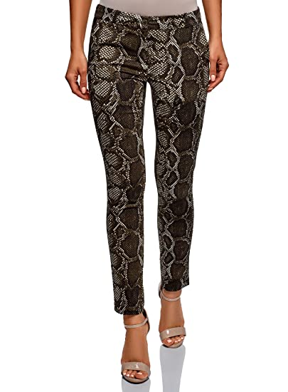 b5c0dd6feba oodji Ultra Femme Pantalon Slim Fit avec Imprimé Python