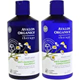 Avalon Organics Anti-Dandruff Shampoo and Anti-Dandruff Conditioner Bundle With 2% Salicylic Acid, Aloe Vera, Tea Tree, Chamomille and Essential Oils, 14 fl. oz. each