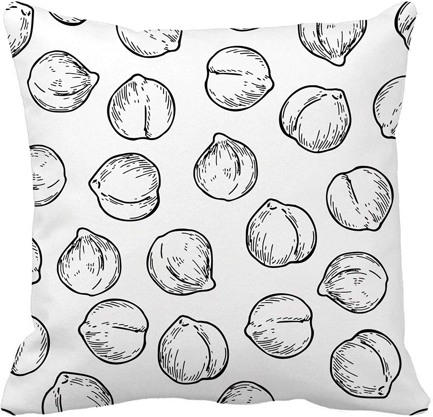 Awowee Throw Pillow Cover Chickpeas Vegetable Engraved Detailed Vegetarian Food Drawing Farm Market 20x20 Inches Pillowcase Home Decorative Square Pillow Case Cushion Cover