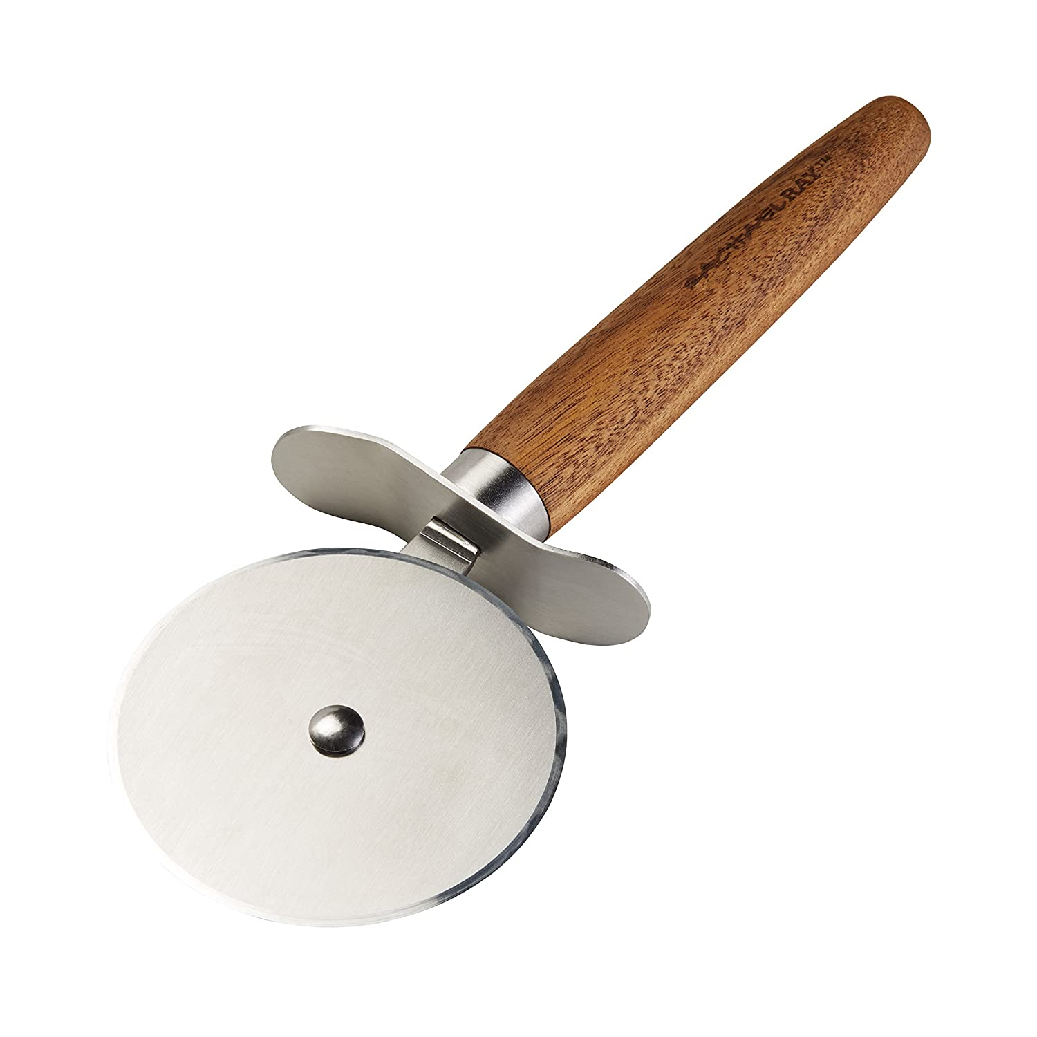 Rachael Ray Cucina Stainless Steel Pizza Cutter/Pizza Wheel, Acacia Wood Handle 46644