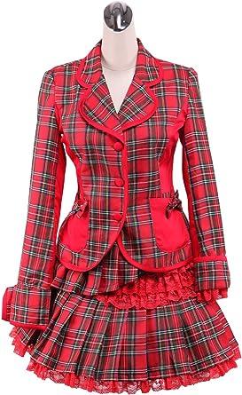 Antaina Blusa de Lolita Victoriana de algodón de tartán roja a ...