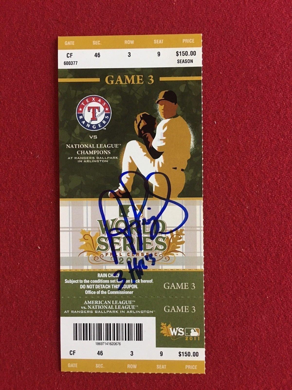 Albert Pujols Signed AutographJSA Certified Unused 2011 World Series Ticket Inscribed