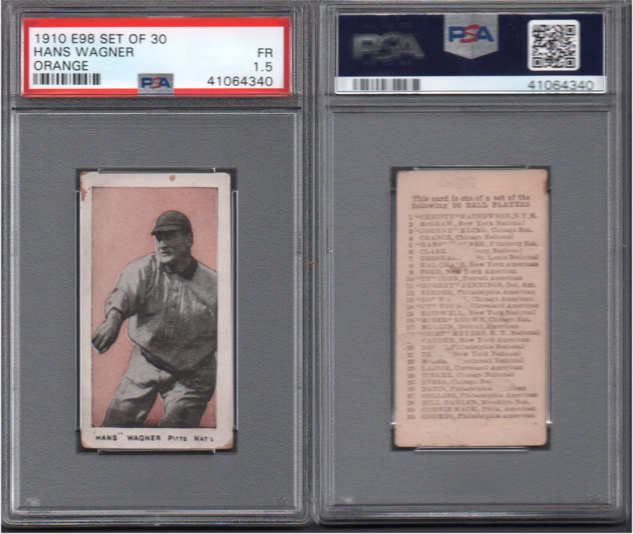 1910 E98 Set Of 30 Regular Baseball Card 5 Honus Wagner Psa
