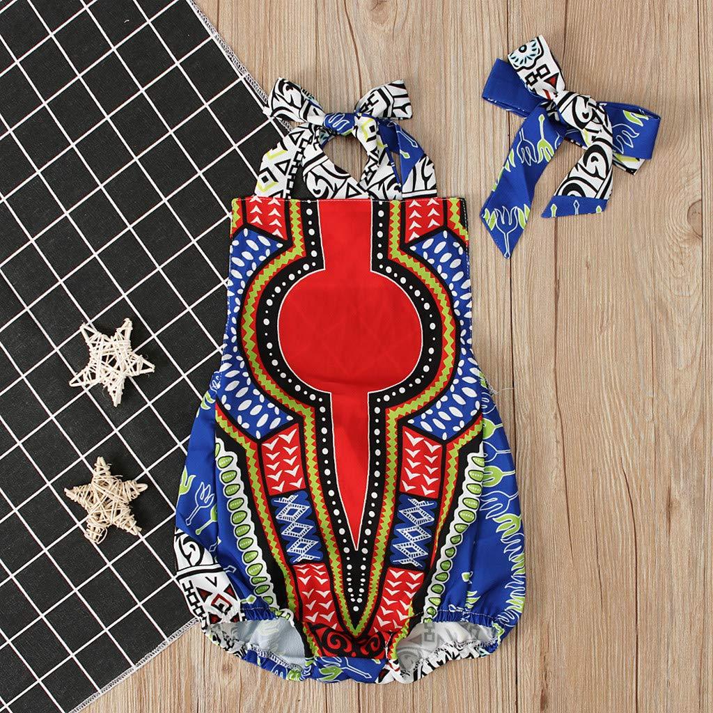 Vovotrade Pagliaccetto a 2 Pezzi per Bambina con Stampa Africana Vestito