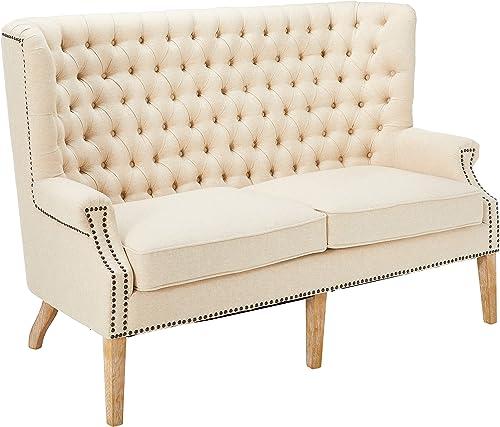 Tov Furniture Abe Linen Wing Loveseat, Beige