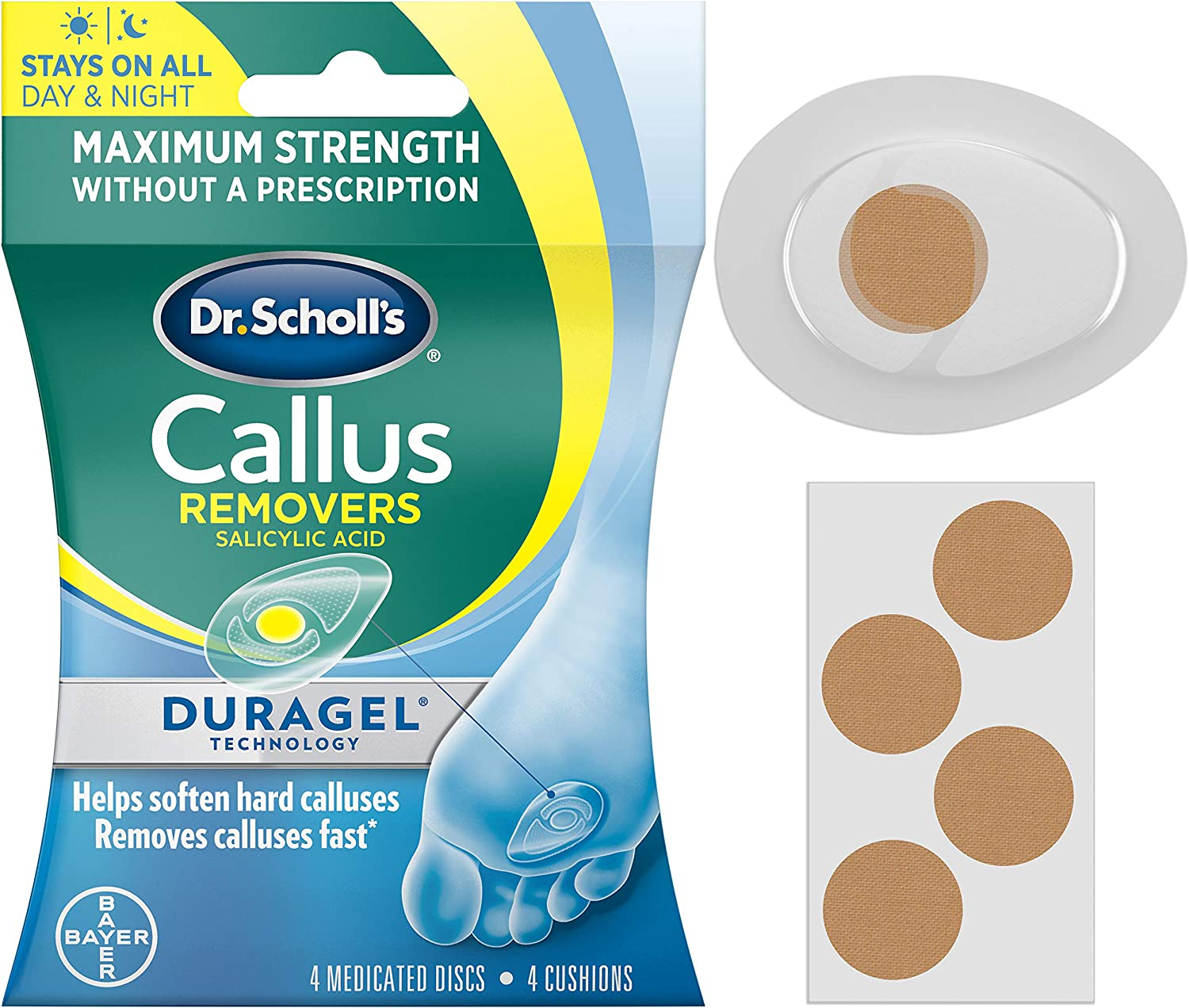 Dr. Scholl's CALLUS REMOVER with Duragel Technology, 4ct // Removes Calluses Fast and Provides Cushioning Protection against Shoe Pressure and Friction for All-Day Pain Relief: Health & Personal Care