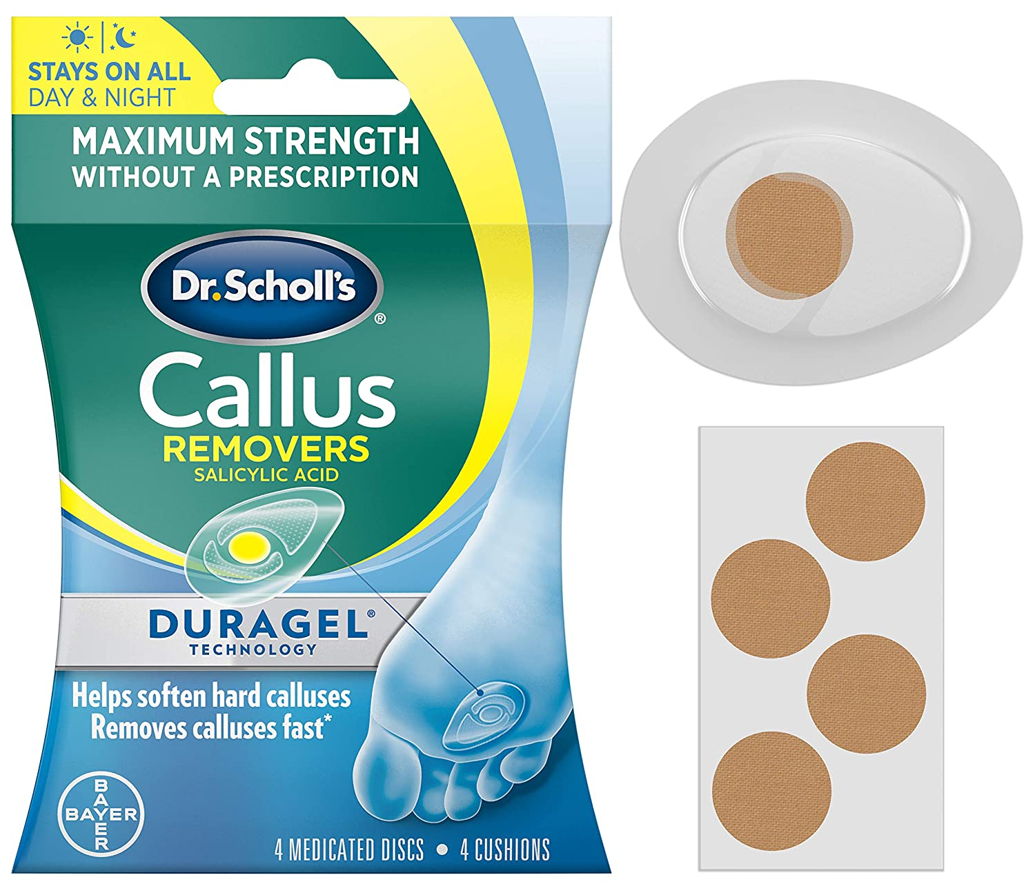 Dr. Scholl's CALLUS REMOVER with Duragel Technology, 4ct // Removes Calluses Fast andProvides Cushioning Protection against Shoe Pressure and Friction for All-Day Pain Relief