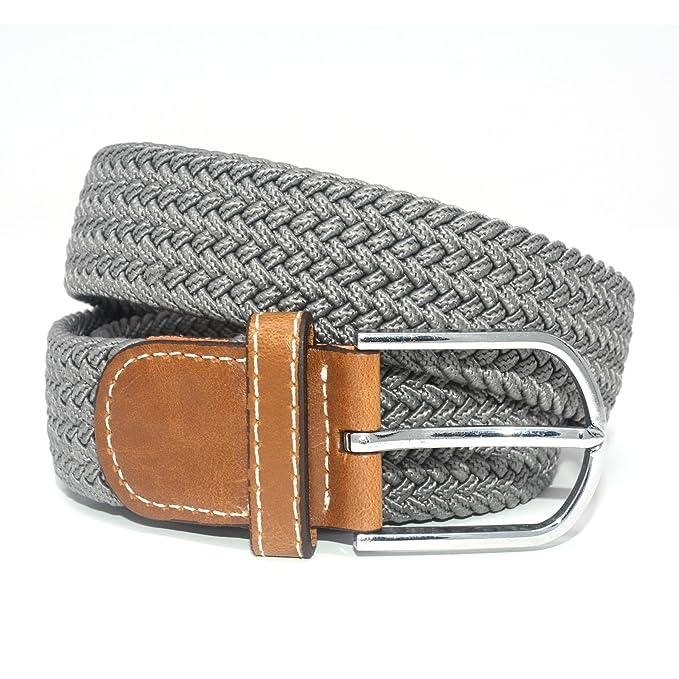 6de4efedd8b Jeracol Cinturones elásticos Tela para Hombre Tejido Cinturón Trenzado  Estiramiento Cinturón con correas de cuero PU durable hebilla  Amazon.es   Ropa y ...