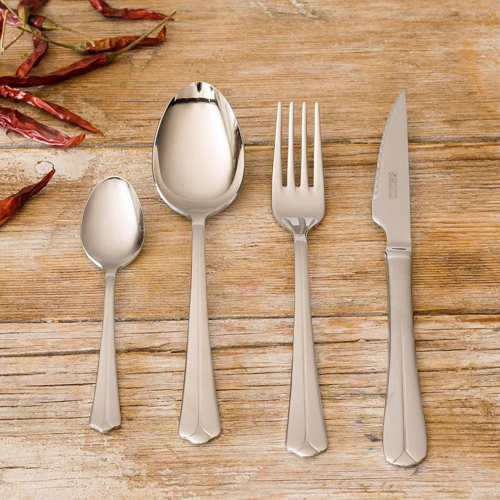 Monix Oslo - Set de cubiertos 75 piezas, cubiertos de acero inox 18/10 con cuchillo chuletero, estuche normal: Amazon.es: Hogar