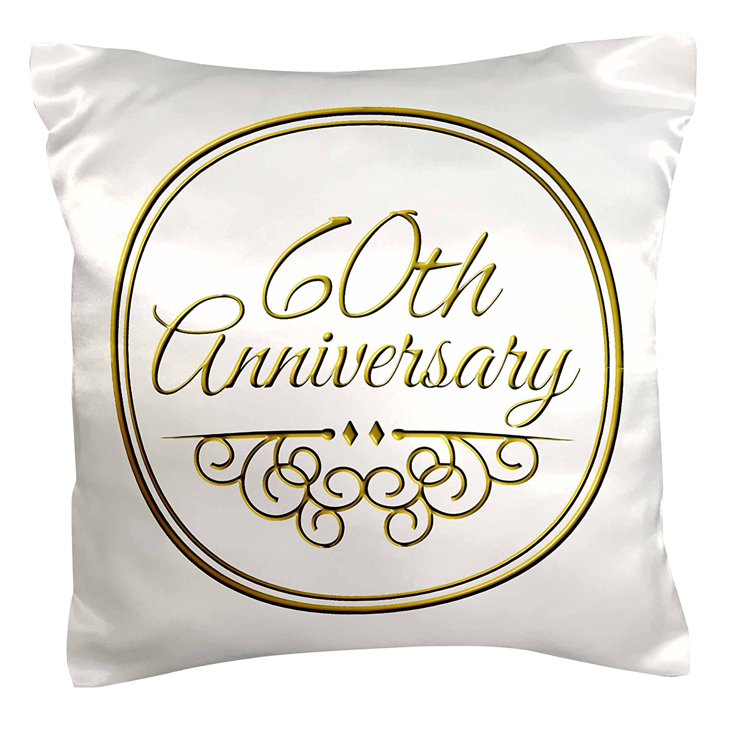 3dRose pc_154502_1 60th Gold Text for Celebrating Wedding Anniversaries 60 Years Married Together Pillow Case, 16' x 16'